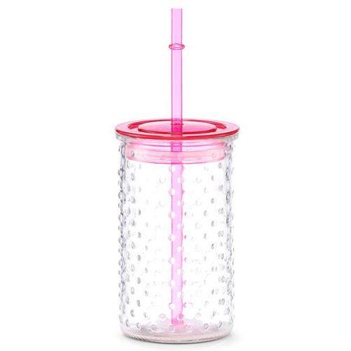 Zeller Słoiczek na lemoniadę lub sok, dekoracyjna szklanka z wieczkiem i słomką - 460 ml,