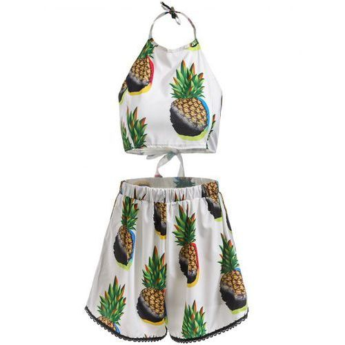 Stylish Halter Sleeveless Pineapple Print Tank Top + Elastic Waist Shorts Women's Twinset