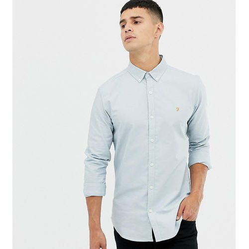 Farah Stretch skinny fit buttondown oxford shirt in light blue Exclusive at ASOS - Blue, kolor niebieski