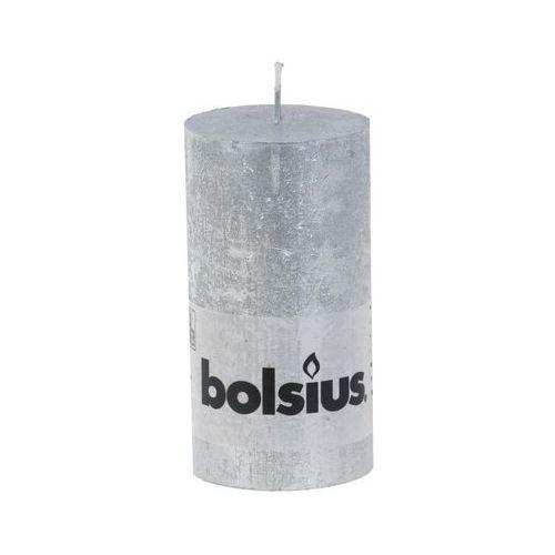 Świeca pieńkowa rustic Met srebrna - 13cm