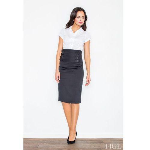 Czarna elegancka ołówkowa midi spódnica z wysokim stanem, Figl, 36-42