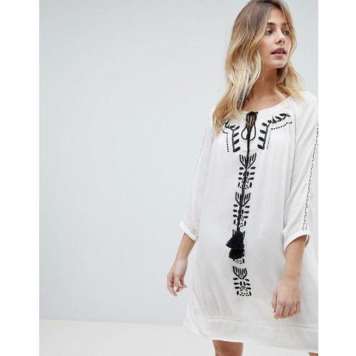 Brave soul robina embroidred tunic dress - white