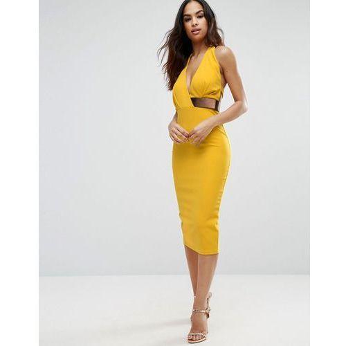 Halter Plunge Midi Dress With Metallic Belt - Yellow marki ASOS