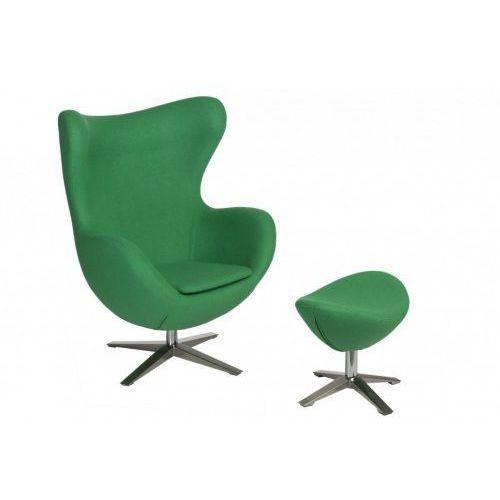 Fotel jajo inspirowany egg szeroki tkanina z podnóżkiem - zielony marki D2.design