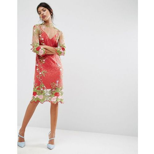 ASOS SALON Floral Embroidered Midi Dress - Pink