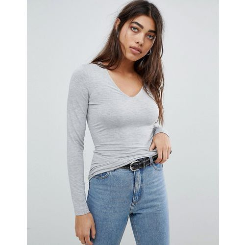Asos design ultimate top with long sleeve and v-neck in grey - grey