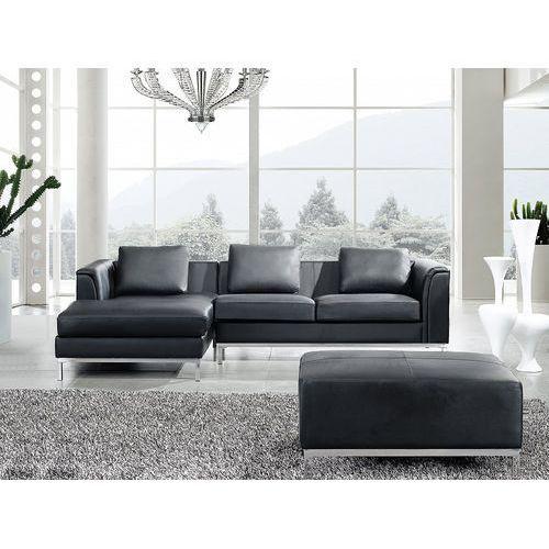 Sofa narożna P - skórzana - czarna - sofa z pufą - kanapa OSLO (7081458666287)