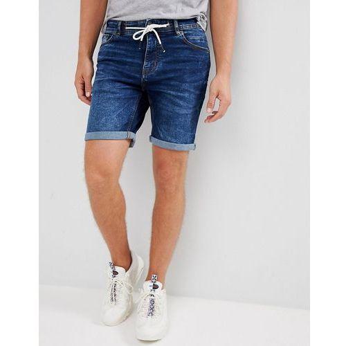 skinny fit denim shorts in mid blue - blue, Pull&bear