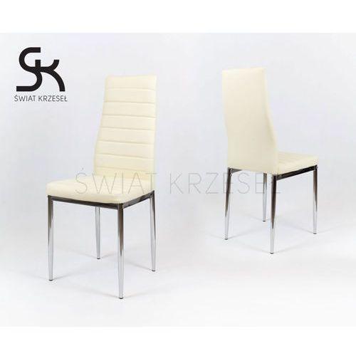 ks001 kremowe krzesło z ekoskóry na stelażu chromowanym - kremowy \ chromowany marki Sk design