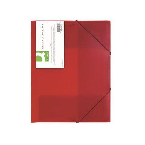Q-connect Teczka z gumką , pp, a4, 400mikr., 3-skrz., transparentna czerwona