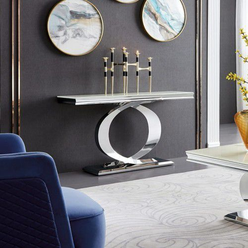Konsola glamour Buffalo - stal szlachetna blat szklany nowoczesny (5908273395517)