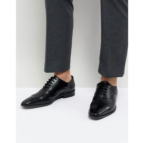 Dune toe cap derby shoes in black leather - black