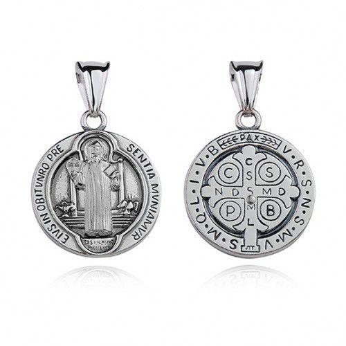 OKAZJA - Srebrny oksydowany medalik pr.925 święty benedykt marki Produkt polski