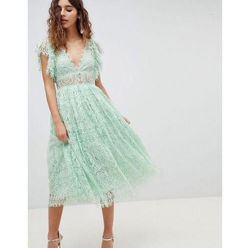 Asos design lace prom midi dress with frill sleeve - pink