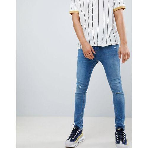 super skinny jeans in blue with knee rips - blue marki Bershka