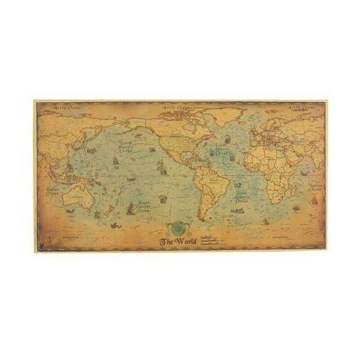 Obraz Mapa Świata Żaglowce retro