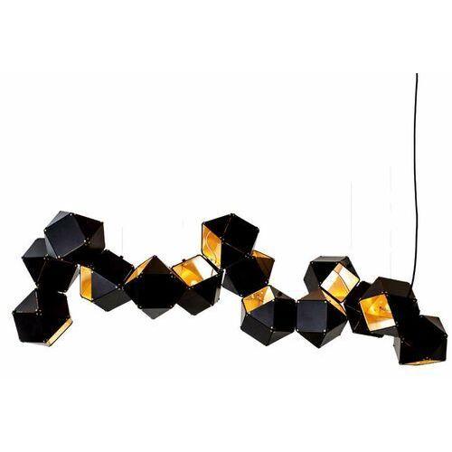 Geometryczna LAMPA wisząca KKST-8861-14 dekoracyjna OPRAWA zwis metalowe sześciany czarne złote, KKST-8861-14