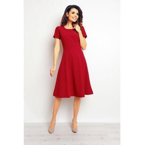 Bordowa Elegancka Rozkloszowana Sukienka, kolor czerwony