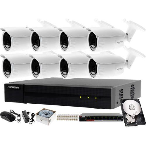 Hikvision hiwatch Kompletny zestaw do monitorowania firmy on-line rejestrator ip hwn-4108mh + 8x kamera fullhd hwi-b620h-v + akcesoria