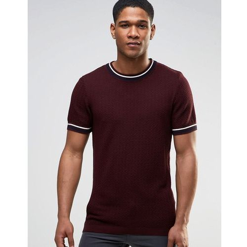 River island  knitted t-shirt with contrast crew neck and sleeves in burgundy - red