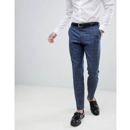 slim suit trouser in blue window pane check - navy, Selected homme