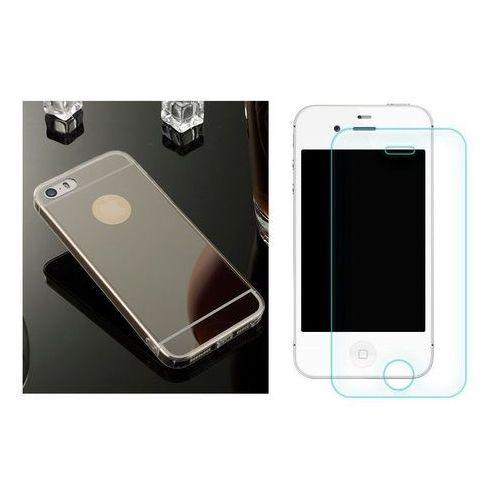 Zestaw   Slim Mirror Case Czarny + Szkło ochronne Perfect Glass   Etui dla Apple iPhone 4 / 4S - produkt z kategorii- Futerały i pokrowce do telefonów