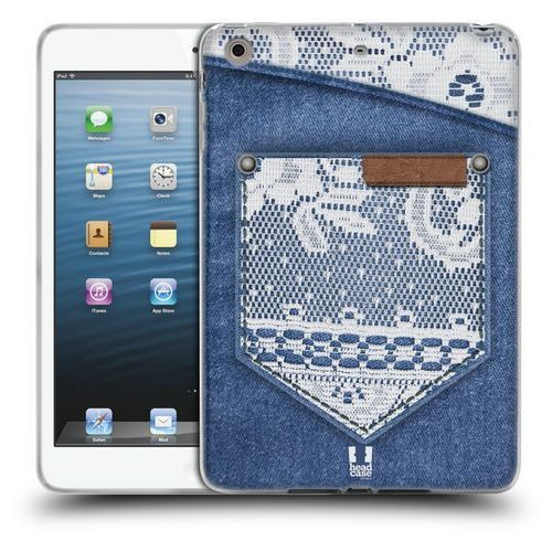 Etui silikonowe na tablet - Jeans and Laces WHITE LACE ON DENIM POCKET, kolor biały