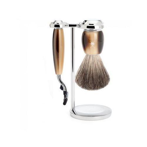 3 el. zestaw do golenia vivo s81m332m3: pędzel, maszynka na wkłady gillette® mach3® i stojak, jasny róg marki Mühle