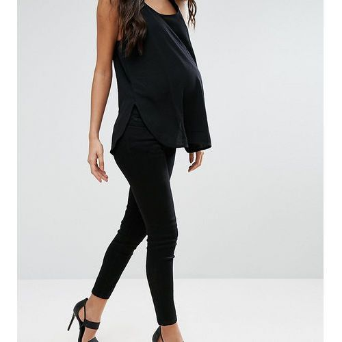 Asos maternity  petite ridley skinny jean in clean black with under the bump waistband - black