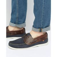 River island leather boat shoes in navy and brown - navy
