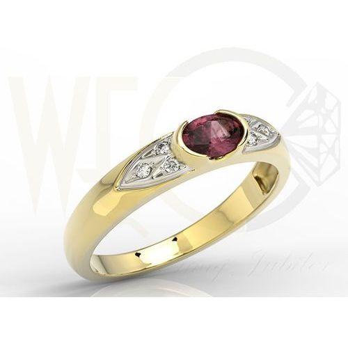 Pierścionek z żółtego złota z rubinem i diamentami 0,06 ct model ap-80z marki Węc - twój jubiler