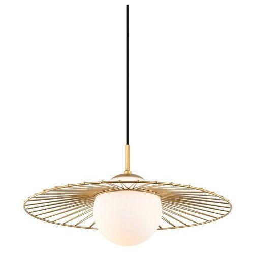 Italux Lampa wisząca sally mdm-4003/1 gd druciana oprawa szklana kula ball zwis sarah sandy loft złoty biały (5902854530007)