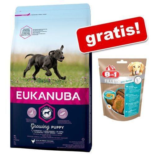 Eukanuba 3 kg + 8in1 fillets pro dental, 80 g - caring senior small breed, kurczak  darmowa dostawa od 89 zł + promocje od zooplus!  -5% rabat dla nowych klientów (8710255145839)