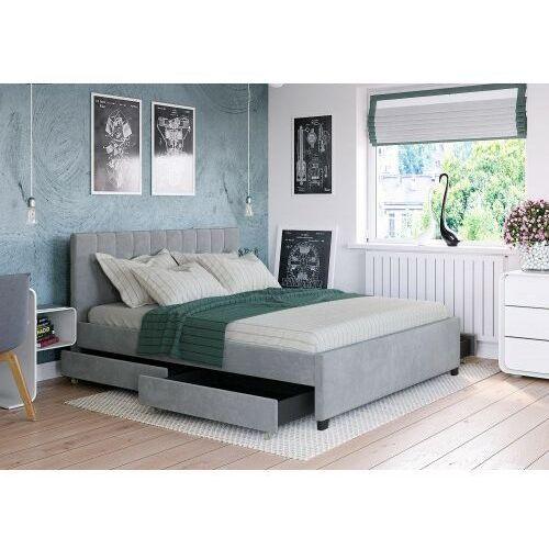 Big meble Łóżko 120x200 tapicerowane modena + 4 szuflady + materac welur szare