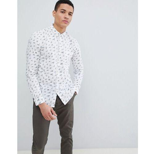 Tom Tailor long sleeve slim shirt in bird print - White