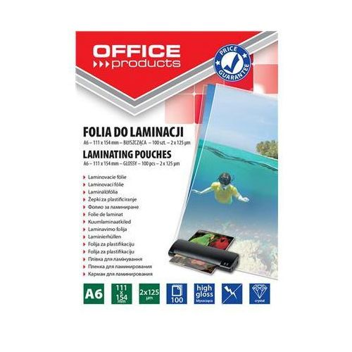 Folia do laminowania OFFICE PRODUCTS, A6, 2x125mikr., błyszcząca, 100szt., transparentna
