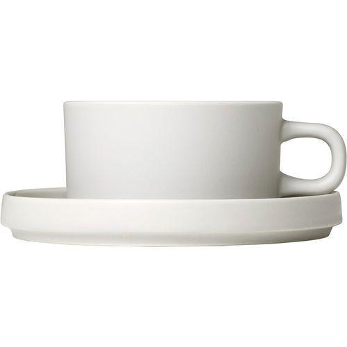Blomus Filiżanki do herbaty ze spodkami mio księżycowa biel, 2 zestawy (b63908) (4008832773440)