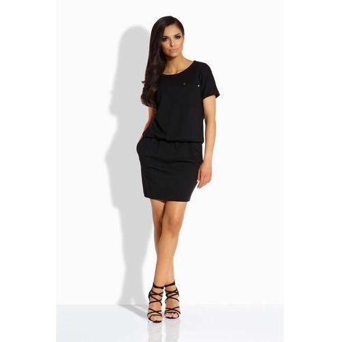 Czarna sukienka ze ściągaczem i kieszonką marki Lemoniade