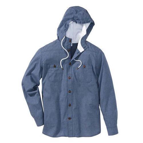 Koszula z długim rękawem, z kapturem regular fit indygo, Bonprix, L-XXL