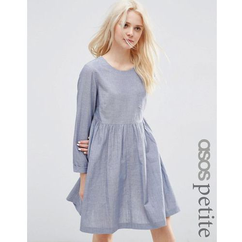 ASOS PETITE Long Sleeve Chambray Smock Dress - Blue marki ASOS Petite