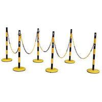 Zestaw słupków odgradzających, z 6 słupkami, łańcuch 15 m, żółty / czarny. do ła marki Unbekannt