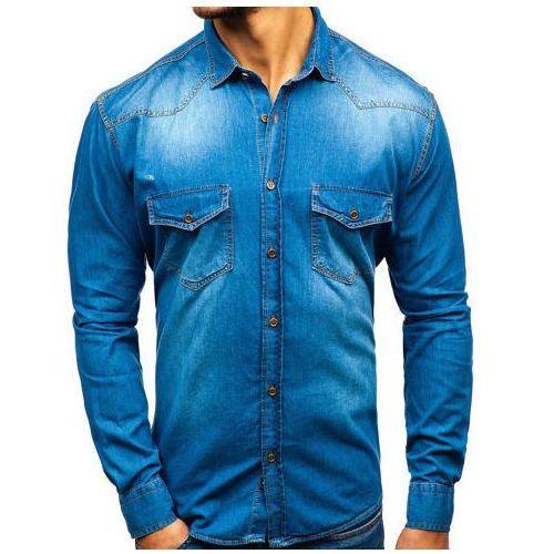 Koszula męska jeansowa z długim rękawem niebieska denley 1331, Zazzoni