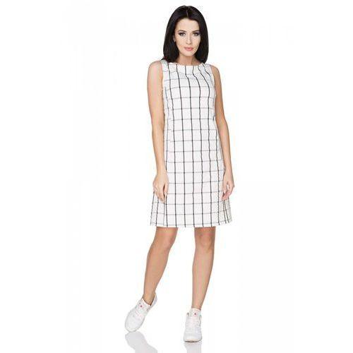 Biała Sukienka w Kratkę bez Rękawów, T236wh