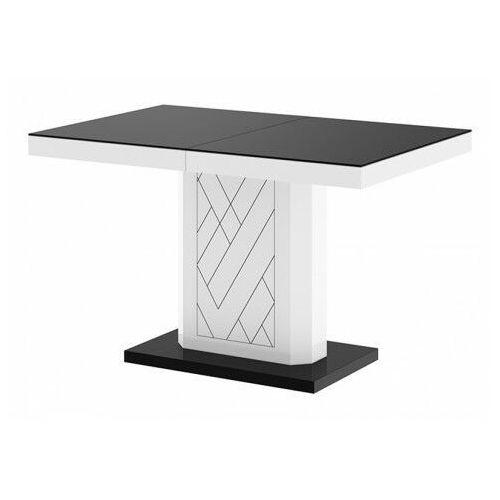 Rozkładany stół z wysokim połyskiem biało czarny - Erdon