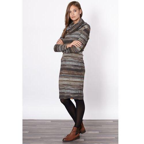 Click fashion Dzianinowa sukienka w rozmyte paski -