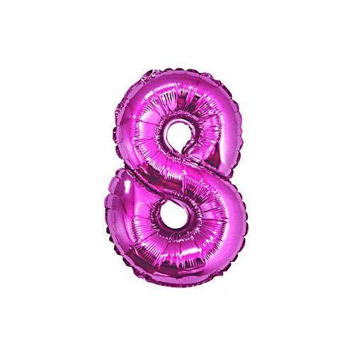 """Go Balon foliowy cyfra """"8"""" różowa - 35 cm"""