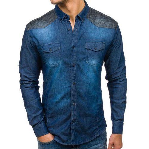 Koszula męska jeansowa we wzory z długim rękawem granatowa denley 0517, Madmext