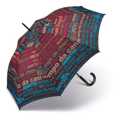 Happy Rain Essentials Slogan długi damski parasol automatyczny Long AC - brązowy