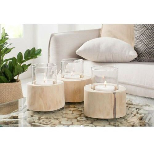 INVICTA świecznik LIMOTION 3 elementy - drewno, szkło