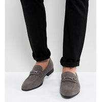 Asos wide fit loafers in grey faux leather with snaffle detail - grey